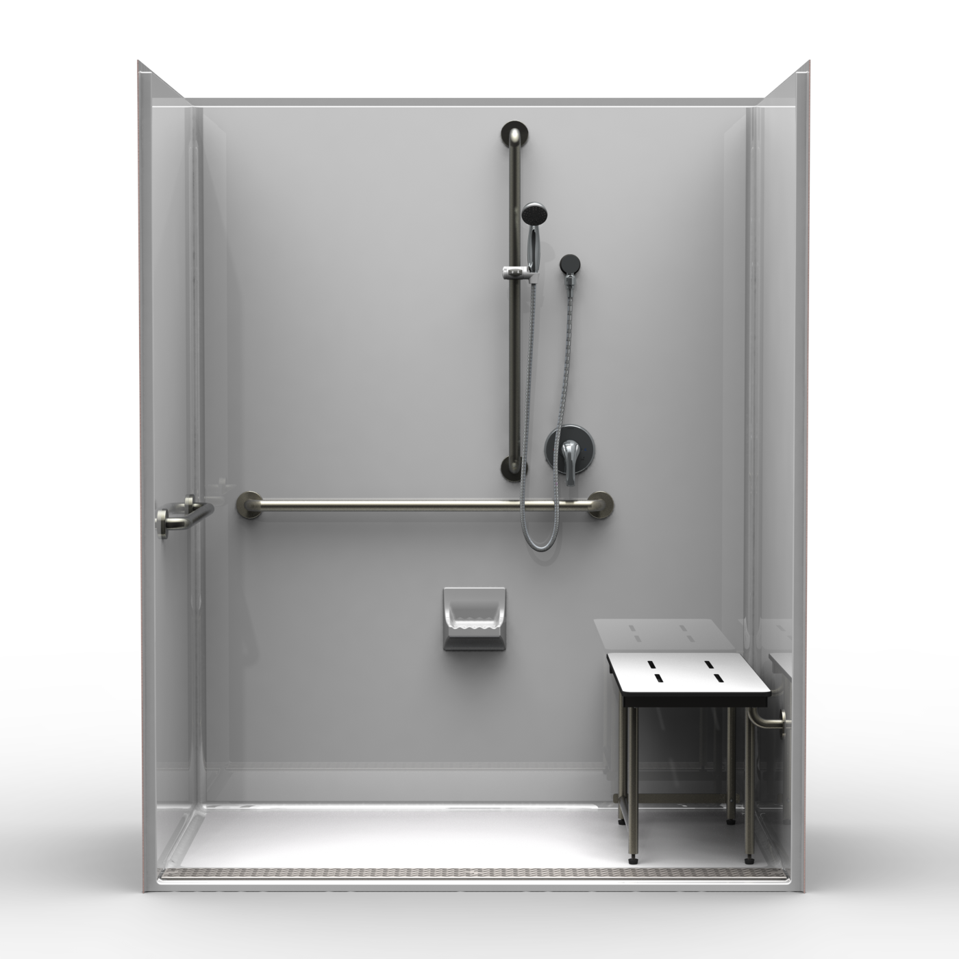 Ada Roll In Shower One Piece 63x37 Smooth Wall Look W Front Trench Drain