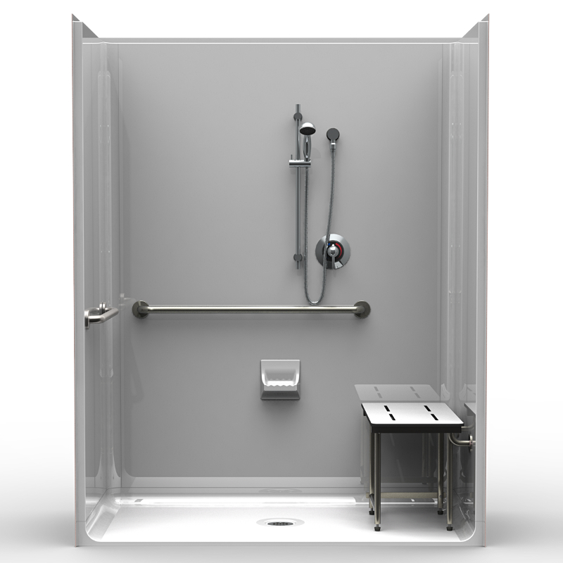 ADA Roll-In Shower - Four Piece 63x31 - Smooth Wall Look ...